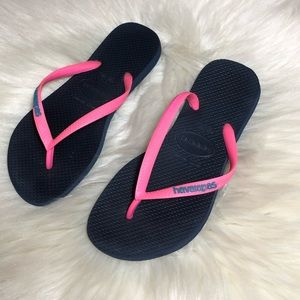 Havaianas Navy Blue Hot Pink Flip Flops Sandals